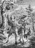 Young men walking in countryside, old print. The wanderers, two happy young men walk with dog in an idyllic landscape, vintage engraving Stock Image