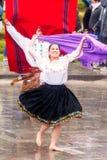 Young Men And Women Dancers. Ingapirca, Ecuador - 20 June 2015: Unidentified Young Men And Women Dancers, Are Dancing In The Circle, Celebrating Inti Raymi In Royalty Free Stock Photo