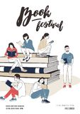 Young men and women dressed in stylish clothing sitting on stack of giant books or beside it and reading. Colorful. Vector illustration for literary or writers Royalty Free Stock Photo