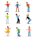 Young men and women having fun and smiling set. Happy people vector illustrations Stock Photos