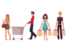 Young men and women with shopping bags, cart, basket Stock Image