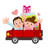 Young men and women to drive Dating Stock Photo