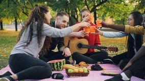Young men and women are toasting and clinking glasses on picnic in park with guitar on warm autumn day. Friendship. Young men and women are toasting and clinking stock footage