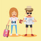 Young Men and Women Traveler with Suitcase and Camera read a Map and Hold passport in hand. Concept Travel Vector Illustration Fla Stock Image