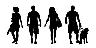 Young men and women walking outdoor silhouettes set. Black silhouettes of 2 young men and 2 women walking in the street front and back view royalty free illustration