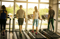 Young men and women workout in gym. Friends together in gym on the treadmill royalty free stock images
