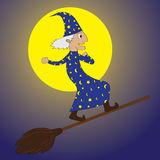 Young Merlin-flying by using a broom in night time. Represent a young Merlin flying in the night time Royalty Free Stock Photography