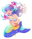 Young mermaid with a couple of fish around her. Cartoon vector  characters Royalty Free Stock Photo