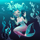 Young mermaid in the sea Royalty Free Stock Images