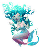 Young mermaid with white background Royalty Free Stock Images