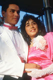 A young Mexican couple in formal attire, Olvera Street, Los Angeles, CA Stock Photos
