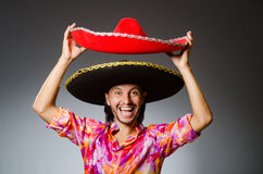 The young mexican man wearing sombrero Stock Photography
