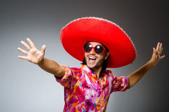 The young mexican man wearing sombrero Royalty Free Stock Image