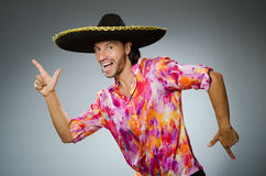 The young mexican man wearing sombrero Royalty Free Stock Photos