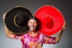 The young mexican man wearing sombrero Stock Photos
