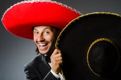 The young mexican man wearing sombrero Royalty Free Stock Photography