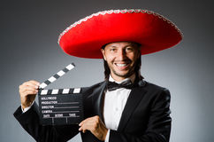 The young mexican man wearing sombrero Stock Photo
