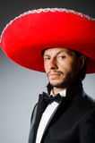The young mexican man wearing sombrero Stock Image