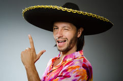 Young mexican man wearing sombrero Royalty Free Stock Photography
