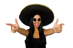 Young mexican woman with gun on white Stock Photos