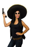 The young mexican woman with gun on white. Young mexican woman with gun on white Stock Photo