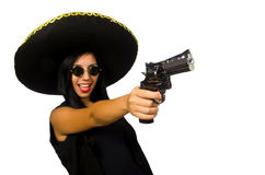 The young mexican woman with gun on white. Young mexican woman with gun on white Royalty Free Stock Photo