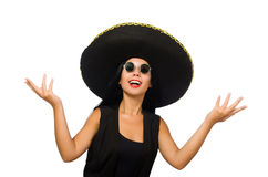 The young mexican woman wearing sombrero isolated on white Royalty Free Stock Photography