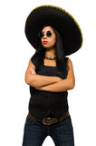 The young mexican woman wearing sombrero isolated on white Stock Photography