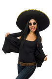 The young mexican woman wearing sombrero isolated on white. Young mexican woman wearing sombrero isolated on white Stock Image