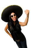 The young mexican woman wearing sombrero isolated on white Stock Photo