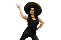 The young mexican woman wearing sombrero isolated on white. Young mexican woman wearing sombrero isolated on white Royalty Free Stock Images