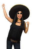 The young mexican woman wearing sombrero isolated on white. Young mexican woman wearing sombrero isolated on white Stock Photography