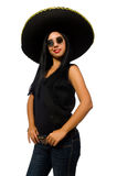 The young mexican woman wearing sombrero isolated on white. Young mexican woman wearing sombrero isolated on white Stock Photos