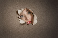 Young Middle eastern woman looking up from ripped paper hole Stock Photography