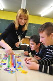 Young migrants in german school playing together Royalty Free Stock Images