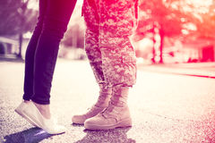 Free Young Military Couple Kissing Each Other, Homecoming Concept Royalty Free Stock Image - 65111356