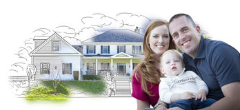 Young Military Family Over House Drawing and Photo Royalty Free Stock Photo
