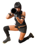 Young military female sighting grenade launcher Stock Photography