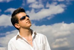 Young minded man in sunglasses Royalty Free Stock Photography