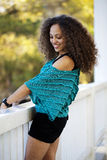 Young Mixed Black Woman Blue Top Outdoors Royalty Free Stock Photos