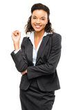 Young mixed race businesswoman smiling isolated on white backgro Stock Image