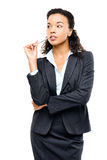 Young mixed race businesswoman thinking isolated on white backgr Royalty Free Stock Photo