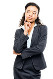 Young mixed race businesswoman thinking isolated on white backgr Stock Photos