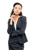Young mixed race businesswoman thinking isolated on white backgr Stock Photography