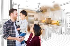 Young Mixed Race Caucasian and Chinese Family In Custom Kitchen stock photos