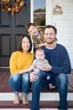 Young Mixed Race Chinese and Caucasian Family Portrait stock image