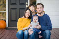 Young Mixed Race Chinese and Caucasian Family Portrait Royalty Free Stock Photography