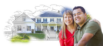 Young Mixed Race Couple Over House Drawing and Photo Royalty Free Stock Photography