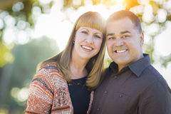 Young Mixed Race Couple Portrait Outdoors Royalty Free Stock Image