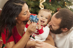 Young Mixed Race Family Christmas Portrait royalty free stock images